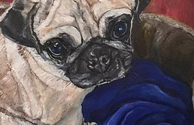 Local artist captures cuddle buddy Pugly